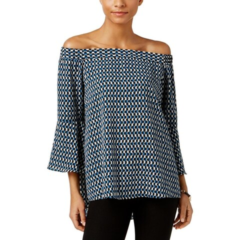 NY Collection Womens Blouse Printed Off-The-Shoulder