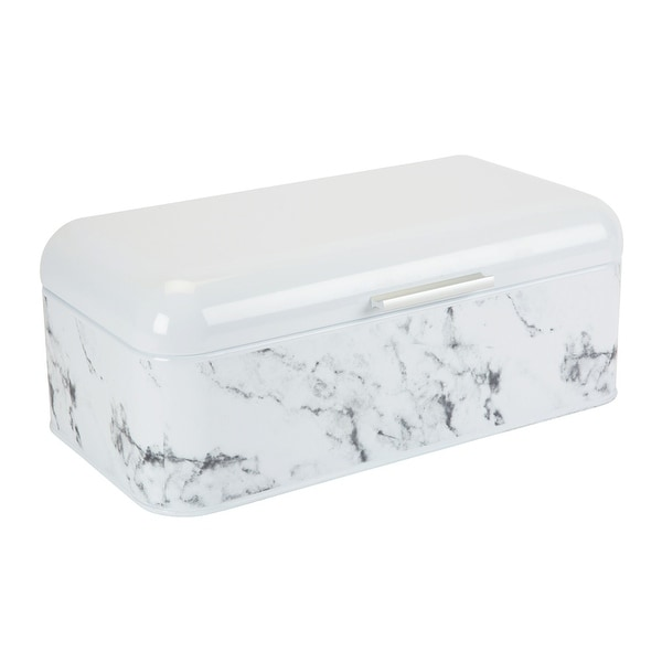 Kitchen Details Marble Design Printed Bread Box, 16.5x7x6.5 Inches