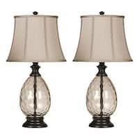 Ashley Furniture L440234 - Set Of 2 Olivia Bronze Finish Glass Table Lamp w/ Fabric Shade