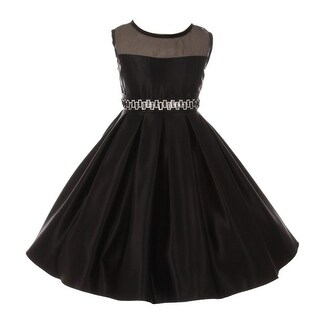 Good Girl Little Girls Black Studded Satin Organza Flower Girl Dress
