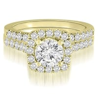 1.52 CT.TW Halo Round Cut Diamond Bridal Set - White H-I