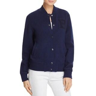 Barbour Sylvie Wool Snap Front Varsity Jacket Coat Navy
