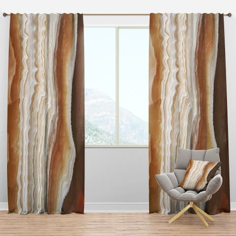 Designart 'Marbled Stone Layers' Traditional Blackout Curtain Panel