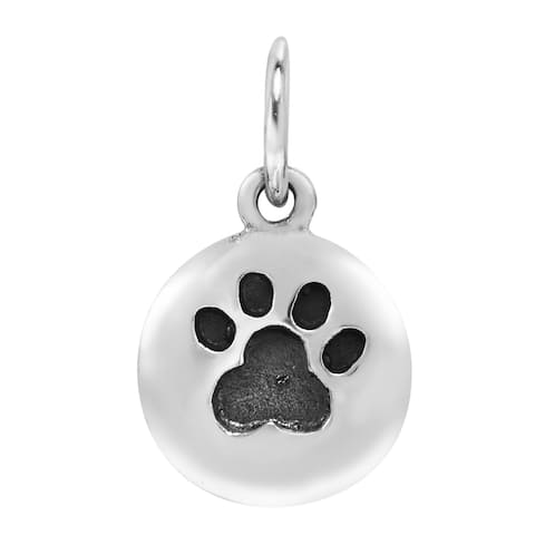 Handmade Adorable Pet Paw Print Round Sterling Silver Pendant Charm (Thailand)