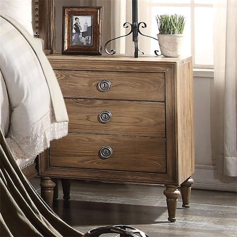 Wood Nightstand in Oak Color with 3 Drawers,Transitional Style