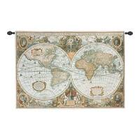 "Vintage-Style Map of the World Cotton Woven Wall Art Hanging Tapestry 50"" x 35"" - brown"