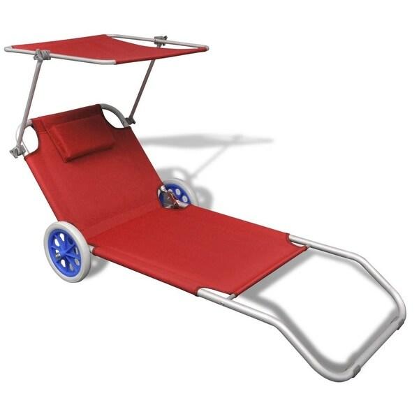 "vidaXL Folding Sun Lounger with Canopy and Wheels Aluminium Red - 58.3"" x 20.5"""