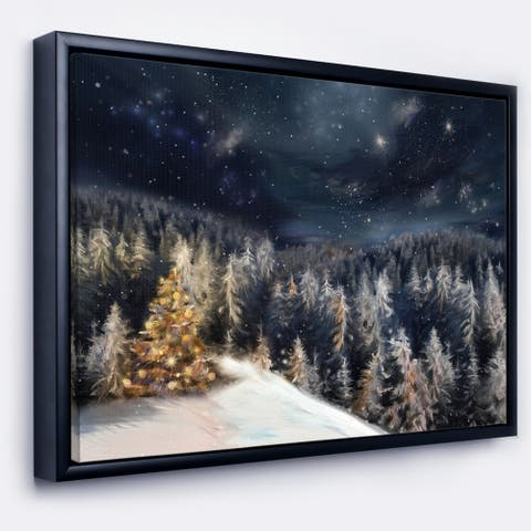 Designart 'Night Forest Christmas Tree' Landscape Framed Canvas Art Print