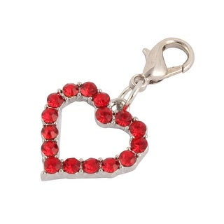 Rhinestone Mosaic Dog Ornament Pet Necklace Clasp Heart Charm Pendent Red