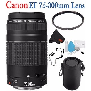 Canon EF 75-300mm f/4-5.6 III Telephoto Zoom Lens 6473A003 + 58mm UV Filter + Lens Cap Keeper + Deluxe Lens Pouch Bundle