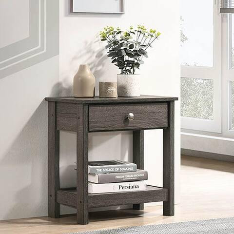 Furniture of America Aranda Rustic Grey 1-drawer End Table