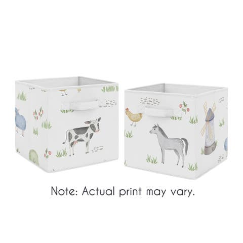Farm Animals Collection Foldable Fabric Storage Bins - Watercolor Farmhouse Horse Cow Sheep Pig