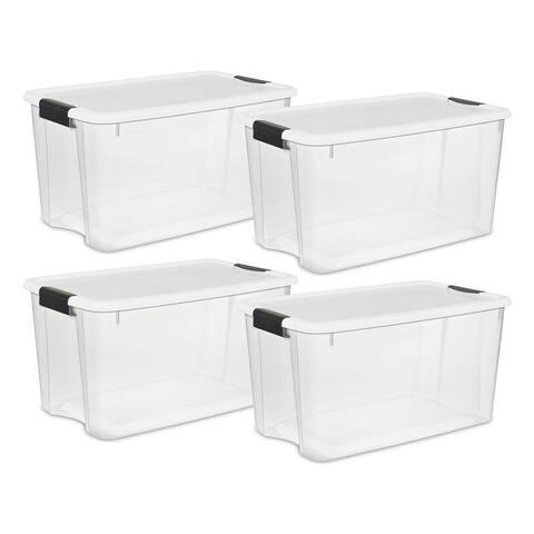 STERILITE 70 Quart Ultra Latch Boxes, Clear - Case of 4