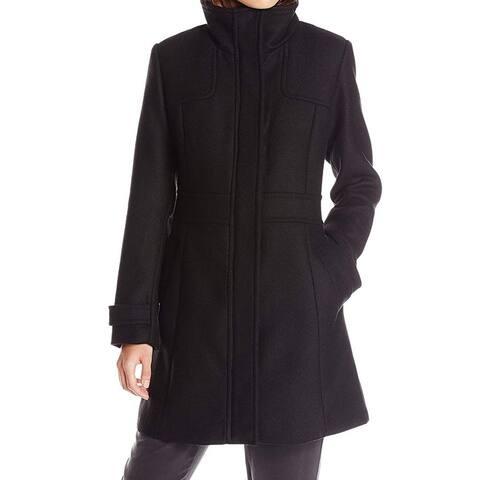 Cole Haan Black Women's Size 4 Full-Zip Button Snap Coat Wool