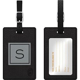 Centon Electronics - Otm Monogram Black Leather Bag Tag, Inversed, Graphite - S