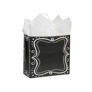 """Pack Of 25, Joey 10 X 5 X 10"""" Chalkboard Borders Recycled Paper Shopping Bags Made In Usa"""