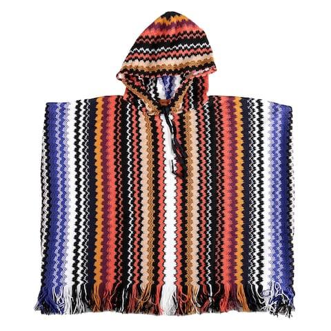 Missoni Khaki Hues Crochet Knit Zigzag Fringe Hooded Poncho - Large