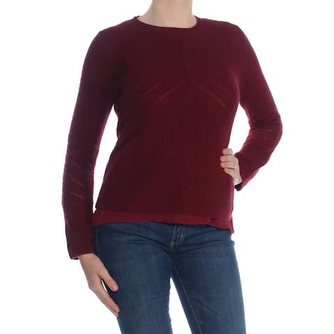 LUCKY BRAND Womens Burgundy Knit Long Sleeve Crew Neck Top Size: M