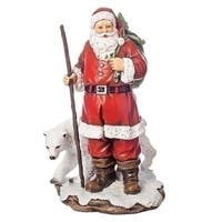 """Pack of 2 Red and White Christmas Decorative Santa with Polar Bear Figure 10"""""""