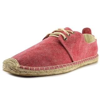 Soludos Solid Derby Lace Up Men Round Toe Canvas Red Espadrille