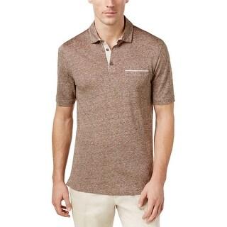 Tasso Elba Sepia Brown Combo Linen Pique Polo Shirt XX-Large