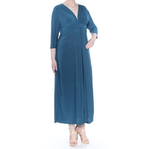LOVE SQUARED Womens Teal Knotted 3/4 Sleeve V Neck Maxi Dress Plus Size: 2X