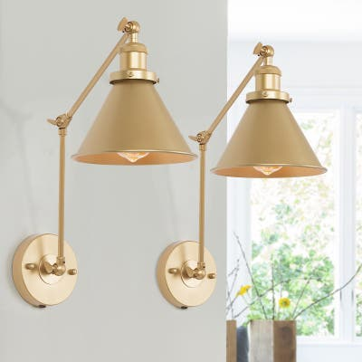 """Set of 2 Modern Plug-in Brushed Gold Swing Arm Lights Wall Sconce - L19.7"""" xW7.53 """"xH9.1"""""""