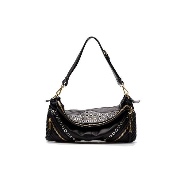 MIU MIU Women's Biker Nappa Leather Shoulder Bag Satchel Handbag Black - S