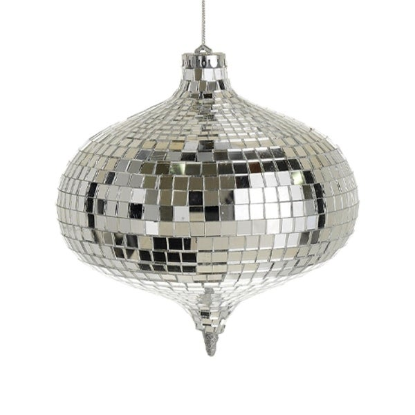 "Glamorous Mirrored Glass Disco Onion-Shaped Christmas Ornament 6"" (150mm)"