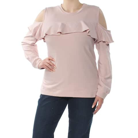 POLLY & ESTHER Womens Pink Cold Shoulder Ruffle Sweatshirt Long Sleeve Jewel Neck Top Size: XL