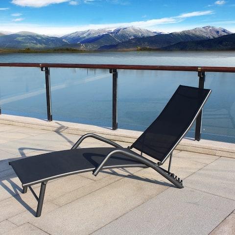Nestfair Metal Single Outdoor Lounge Chair in Patio Leisure Sun Beach
