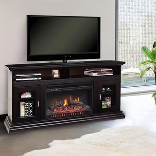 Costway 62'' Fireplace TV Stand Console Storeage Electric Heater Home Furni W/Glass Door