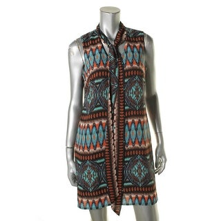 Signature By Robbie Bee Womens Petites Casual Dress Aztec Print Tie-Neck