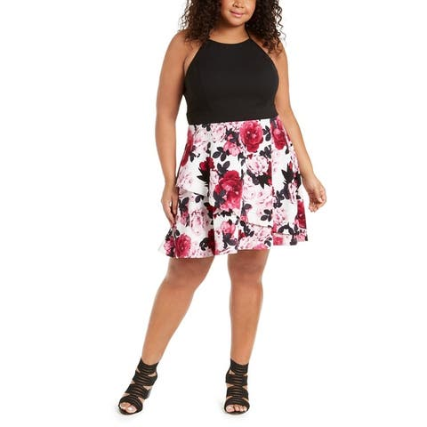 Speechless Womens Plus Halter Dress Floral Fit & Flare - Ivory/Berry