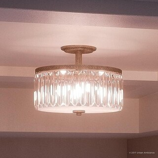 """Luxury Crystal Ceiling Light, 11.25""""H x 15.25""""W, with Vintage Style, Antique Gold Finish"""