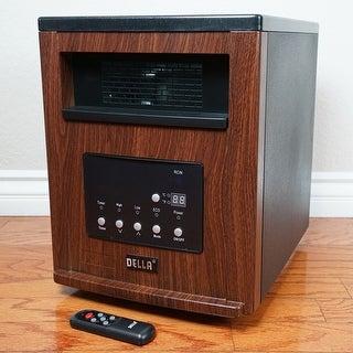 Della Heater Portable Space Infrared Heater Remote Control, Timer, Digital w/ Wheel (Brown) 1500-Watt