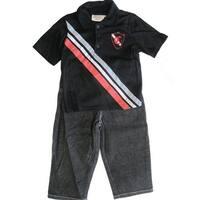 Carters Little Boys Black Contrast Stripe T-Shirt Black Denim 2 Pc Pant Set 2T-4T