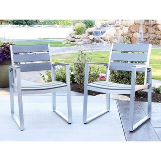 Offex All Weather Grey Outdoor Patio Dining Chair - Set of 2