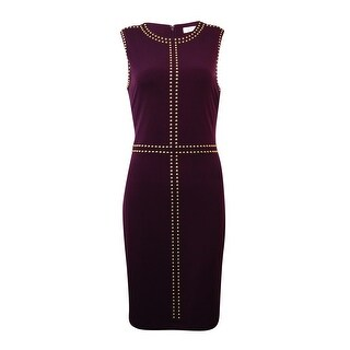 Calvin Klein Women's Sleeveless Stud Trim Jersey Sheath Dress