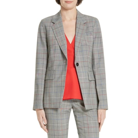 LEWIT Gray Women Size 6 Check Print One Button Notched Lapel Blazer