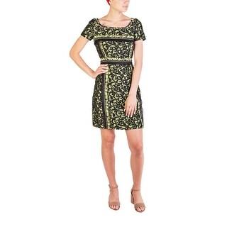 Prada Women's Cotton Nylon Blend Floral Print Dress Green - 8