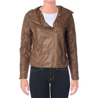 XOXO Womens Juniors Faux Leather Long Sleeves Jacket