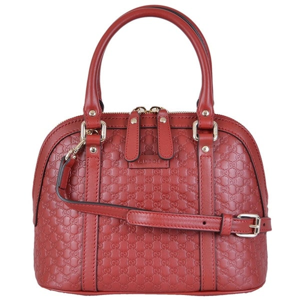 149241f8c40f7e Shop Gucci 449654 Micro GG RED Leather Convertible Mini Dome Purse ...