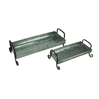 Galvanized Metal Rectangular Tray with Decorative Legs Set of 2 - 6.75 X 20.5 X 10 inches