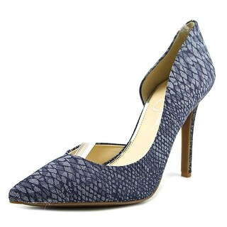 Jessica Simpson Claudette Pointed Toe Canvas Heels