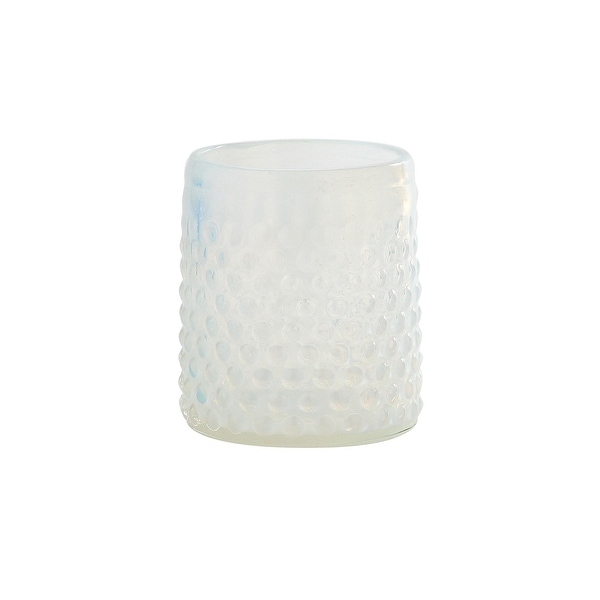 "4.5"" White Textured Dot Pattern Cylindrical Glass Vase - N/A"