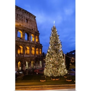 """Christmas tree at Colosseum at dusk"" Poster Print"