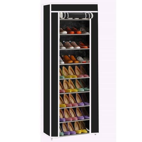10-Layers 9 Lattices Non-woven Fabric Shoe Rack Black / Purple / Rose Red