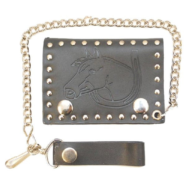 Black Engraved Biker Wallet with horse head and horse shoe - One size