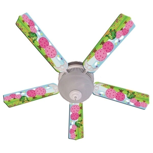 Turtle Pink Trees Print Blades 52in Ceiling Fan Light Kit - Multi